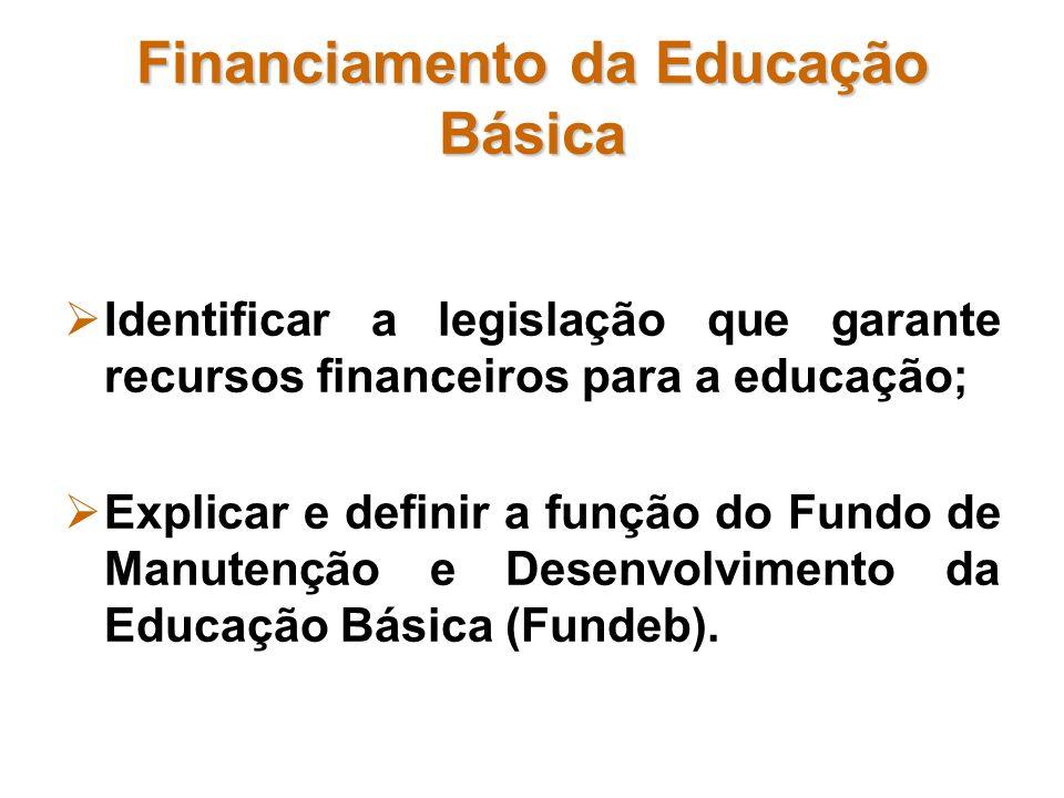 Financiamento da Educação Básica Identificar a legislação que garante recursos financeiros para a educação; Explicar e definir a função do Fundo de Ma