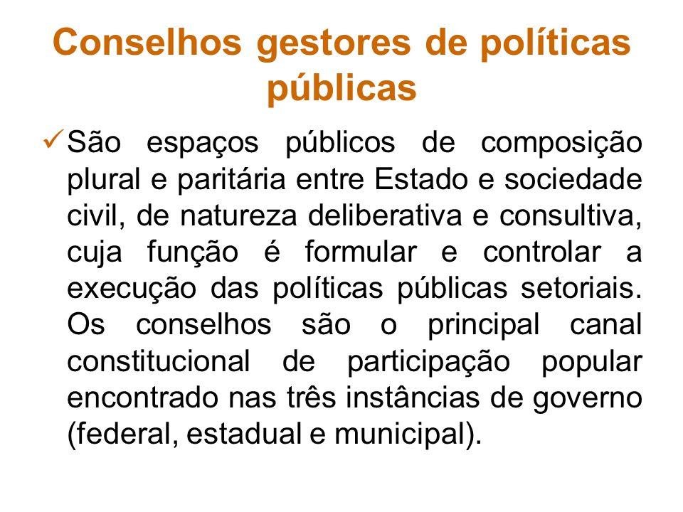 Conselhos gestores de políticas públicas São espaços públicos de composição plural e paritária entre Estado e sociedade civil, de natureza deliberativ