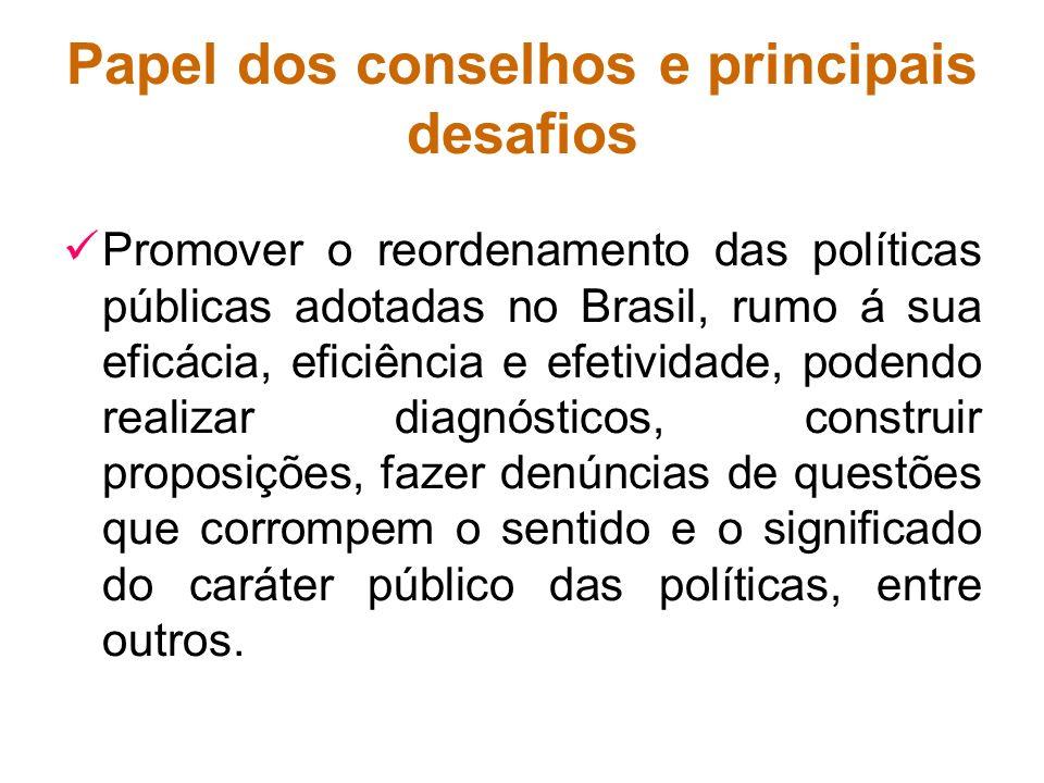 Papel dos conselhos e principais desafios Promover o reordenamento das políticas públicas adotadas no Brasil, rumo á sua eficácia, eficiência e efetiv