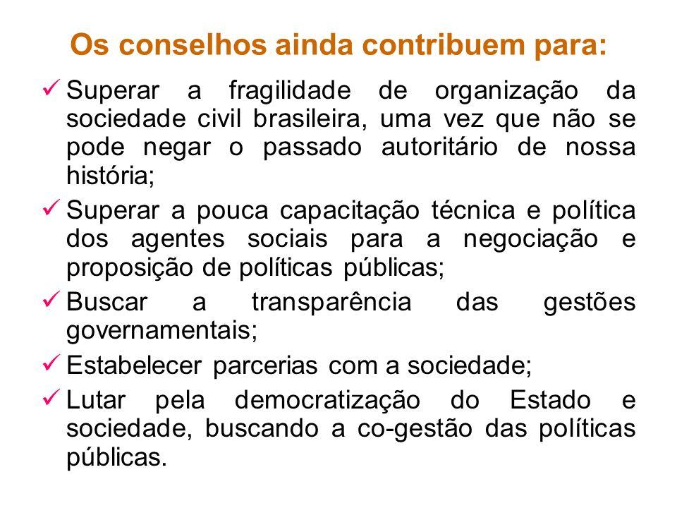 Os conselhos ainda contribuem para: Superar a fragilidade de organização da sociedade civil brasileira, uma vez que não se pode negar o passado autori