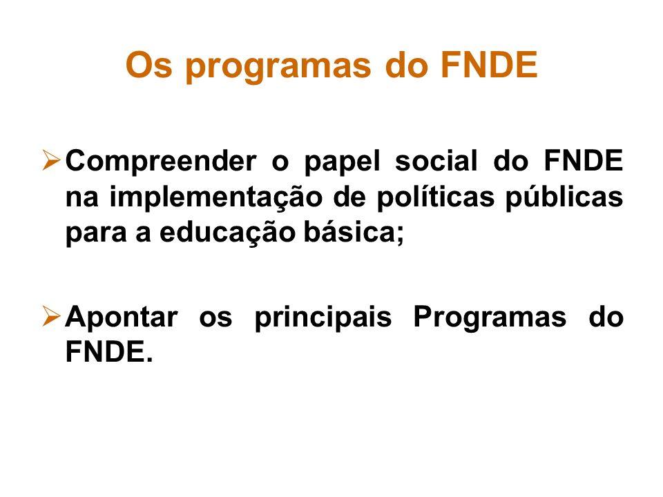 Os programas do FNDE Compreender o papel social do FNDE na implementação de políticas públicas para a educação básica; Apontar os principais Programas