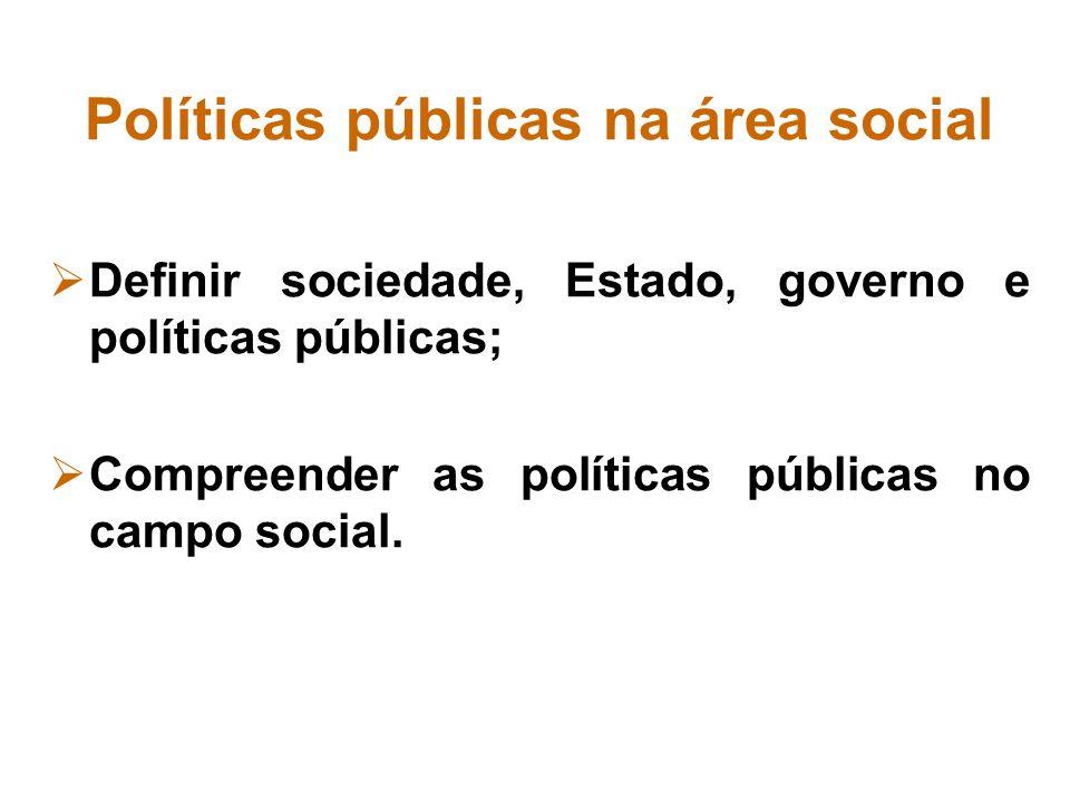 Políticas públicas na área social Definir sociedade, Estado, governo e políticas públicas; Compreender as políticas públicas no campo social.