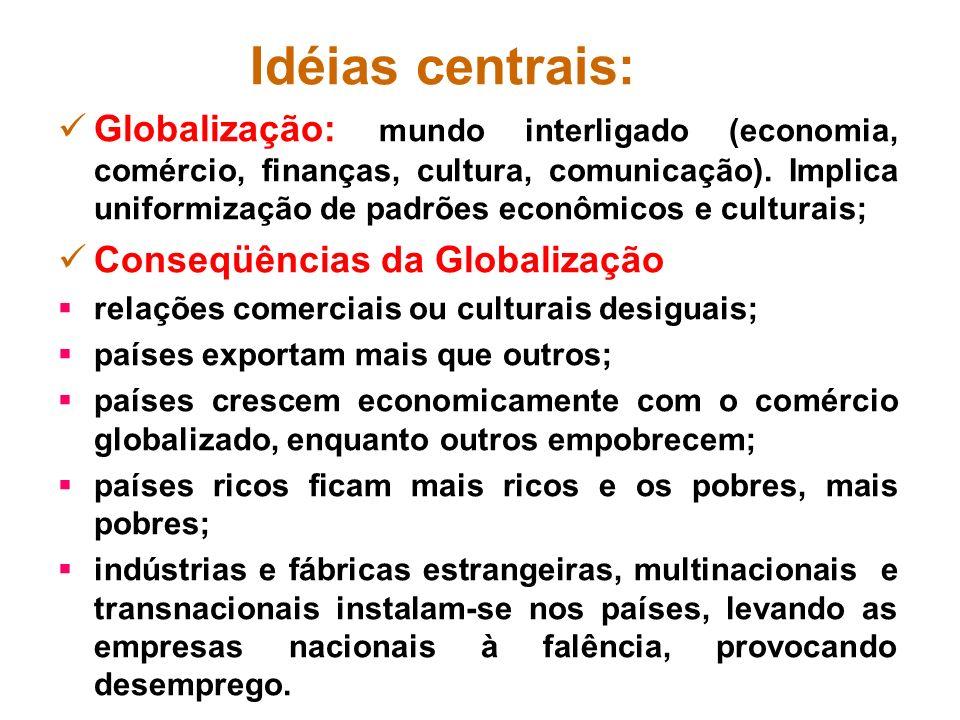 Idéias centrais: Neoliberalismo: defende a não intervenção do Estado na condução da economia, nas relações patrão-empregado e na oferta de serviços à sociedade, ou seja, o estado mínimo.