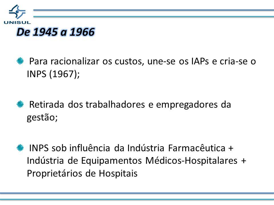 Para racionalizar os custos, une-se os IAPs e cria-se o INPS (1967); Retirada dos trabalhadores e empregadores da gestão; INPS sob influência da Indús