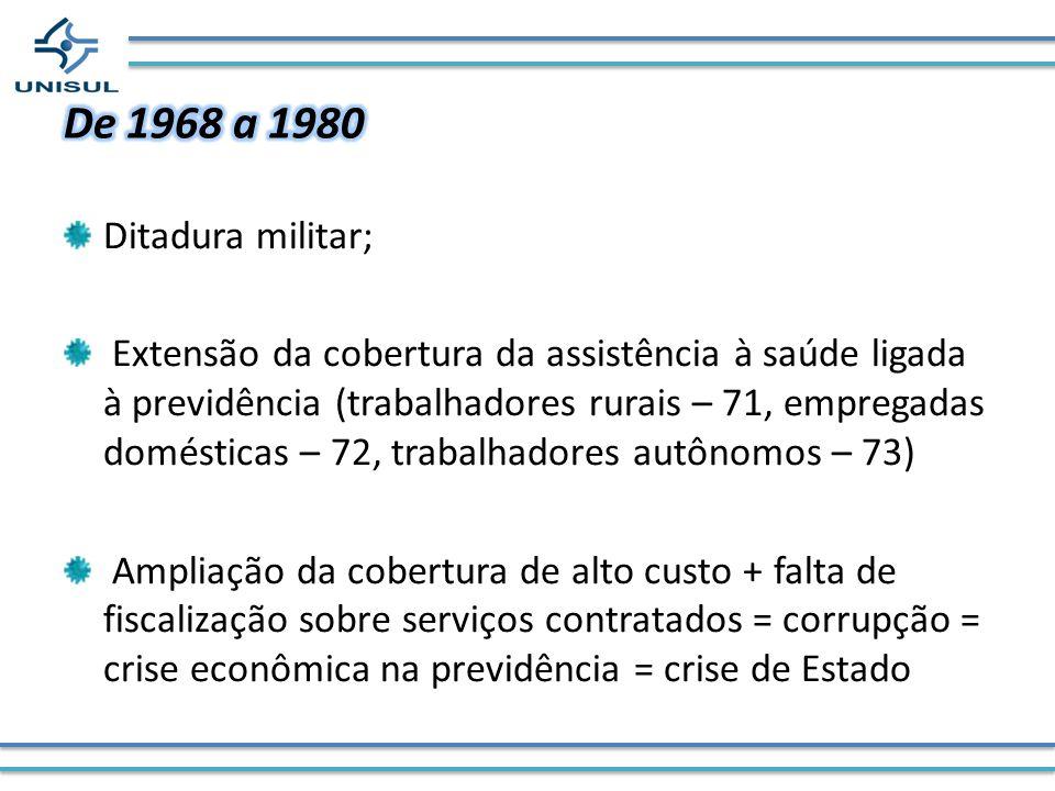 Ditadura militar; Extensão da cobertura da assistência à saúde ligada à previdência (trabalhadores rurais – 71, empregadas domésticas – 72, trabalhado