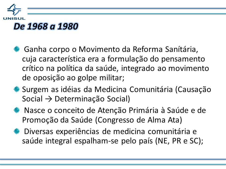 Ganha corpo o Movimento da Reforma Sanítária, cuja característica era a formulação do pensamento crítico na política da saúde, integrado ao movimento