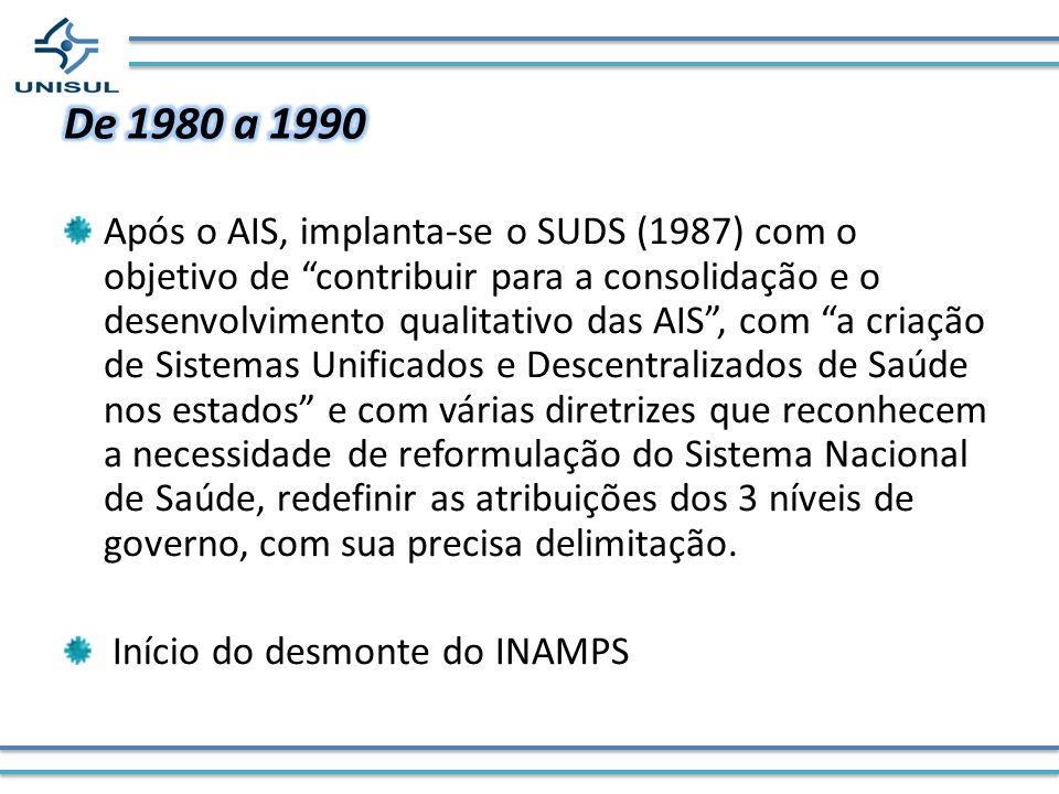 Após o AIS, implanta-se o SUDS (1987) com o objetivo de contribuir para a consolidação e o desenvolvimento qualitativo das AIS, com a criação de Siste