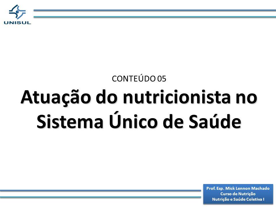 Prof.Esp. Mick Lennon Machado Curso de Nutrição Nutrição e Saúde Coletiva I Prof.