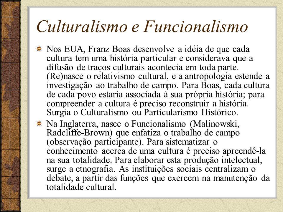 Culturalismo e Funcionalismo Nos EUA, Franz Boas desenvolve a idéia de que cada cultura tem uma história particular e considerava que a difusão de tra