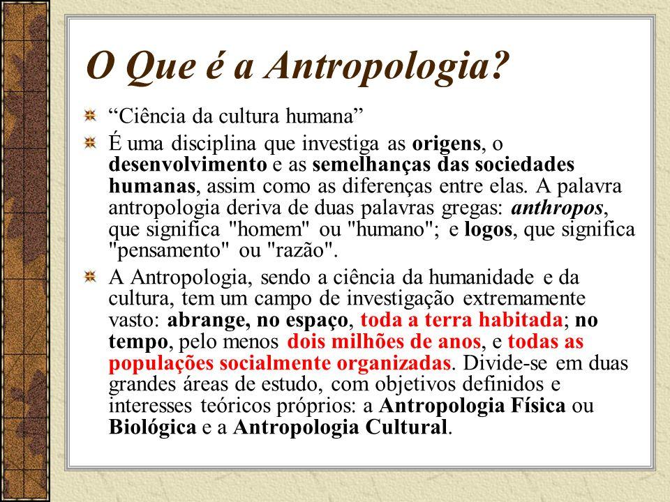 O Que é a Antropologia? Ciência da cultura humana É uma disciplina que investiga as origens, o desenvolvimento e as semelhanças das sociedades humanas