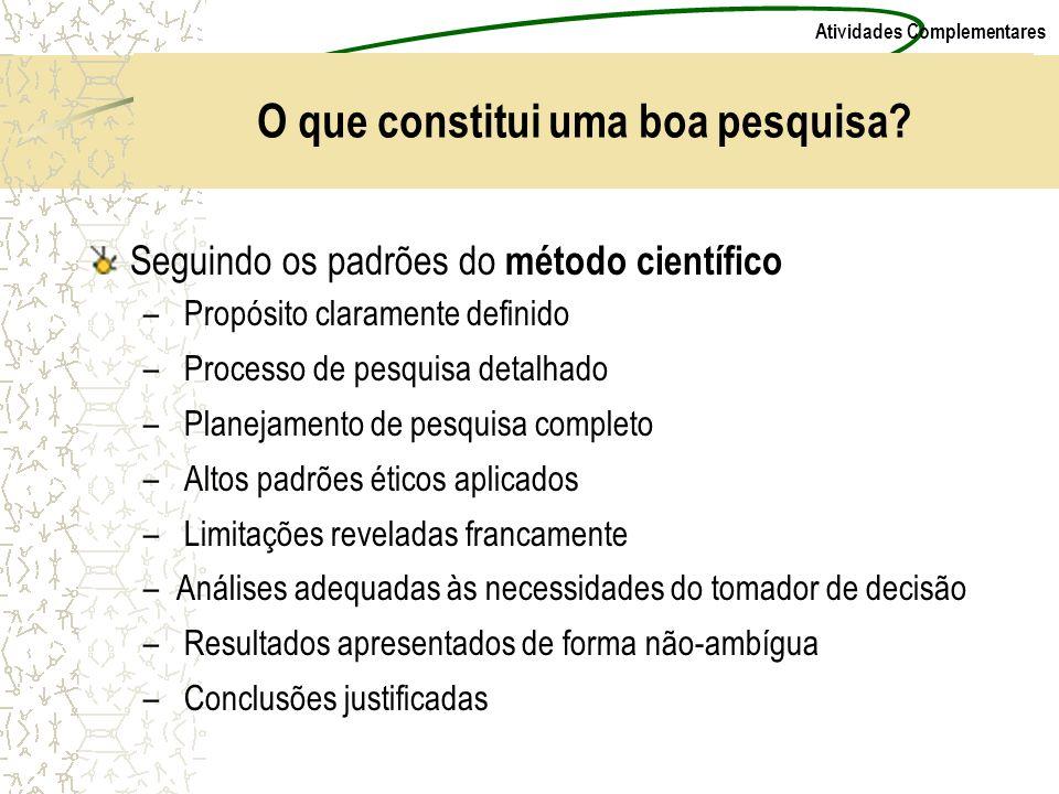 Atividades Complementares O que constitui uma boa pesquisa? Seguindo os padrões do método científico – Propósito claramente definido – Processo de pes