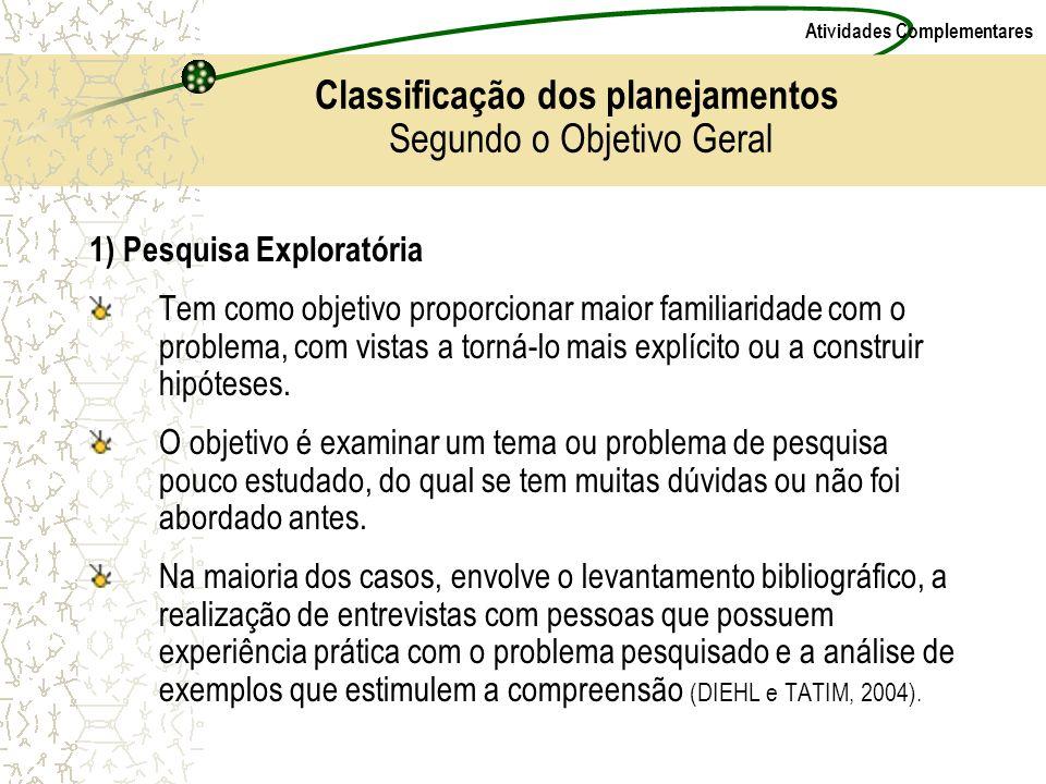 Atividades Complementares Classificação dos planejamentos Segundo o Objetivo Geral 1) Pesquisa Exploratória Tem como objetivo proporcionar maior famil