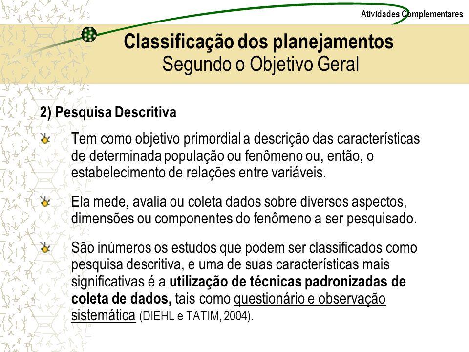 Atividades Complementares 2) Pesquisa Descritiva Tem como objetivo primordial a descrição das características de determinada população ou fenômeno ou,