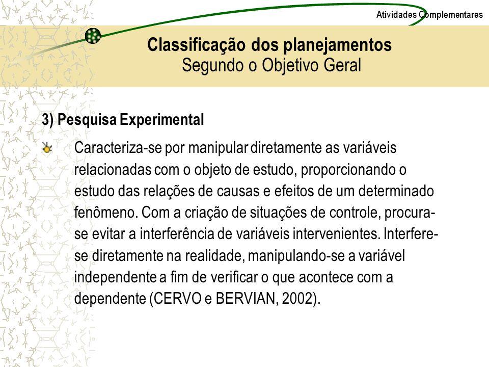 Atividades Complementares 3) Pesquisa Experimental Caracteriza-se por manipular diretamente as variáveis relacionadas com o objeto de estudo, proporci