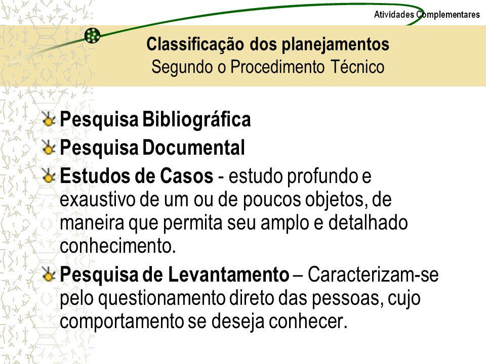 Atividades Complementares Classificação dos planejamentos Segundo o Procedimento Técnico Pesquisa Bibliográfica Pesquisa Documental Estudos de Casos -