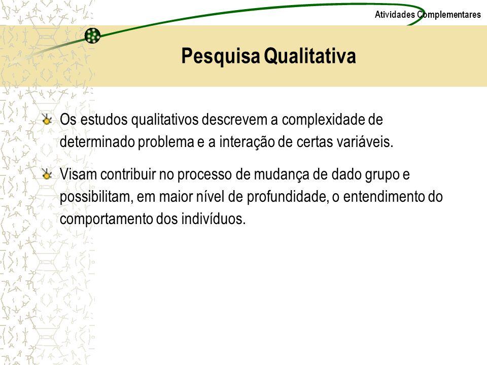 Atividades Complementares Pesquisa Qualitativa Os estudos qualitativos descrevem a complexidade de determinado problema e a interação de certas variáv