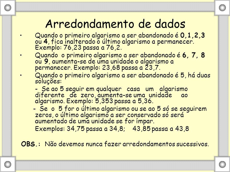 Arredondamento de dados Quando o primeiro algarismo a ser abandonado é 0,1,2,3 ou 4, fica inalterado o último algarismo a permanecer. Exemplo: 76,23 p