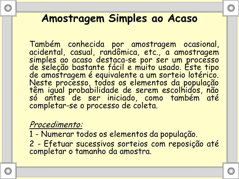 Amostragem Simples ao Acaso Também conhecida por amostragem ocasional, acidental, casual, randômica, etc., a amostragem simples ao acaso destaca-se po