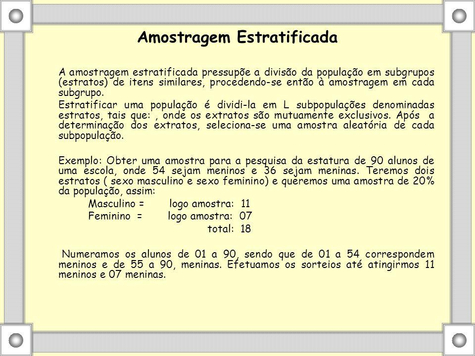 Amostragem Estratificada A amostragem estratificada pressupõe a divisão da população em subgrupos (estratos) de itens similares, procedendo-se então à