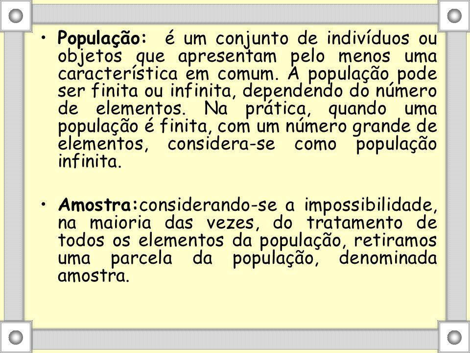 População: é um conjunto de indivíduos ou objetos que apresentam pelo menos uma característica em comum. A população pode ser finita ou infinita, depe