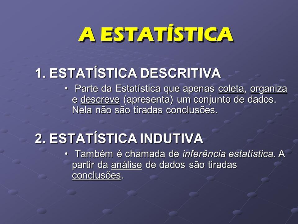 1. ESTATÍSTICA DESCRITIVA Parte da Estatística que apenas coleta, organiza e descreve (apresenta) um conjunto de dados. Nela não são tiradas conclusõe