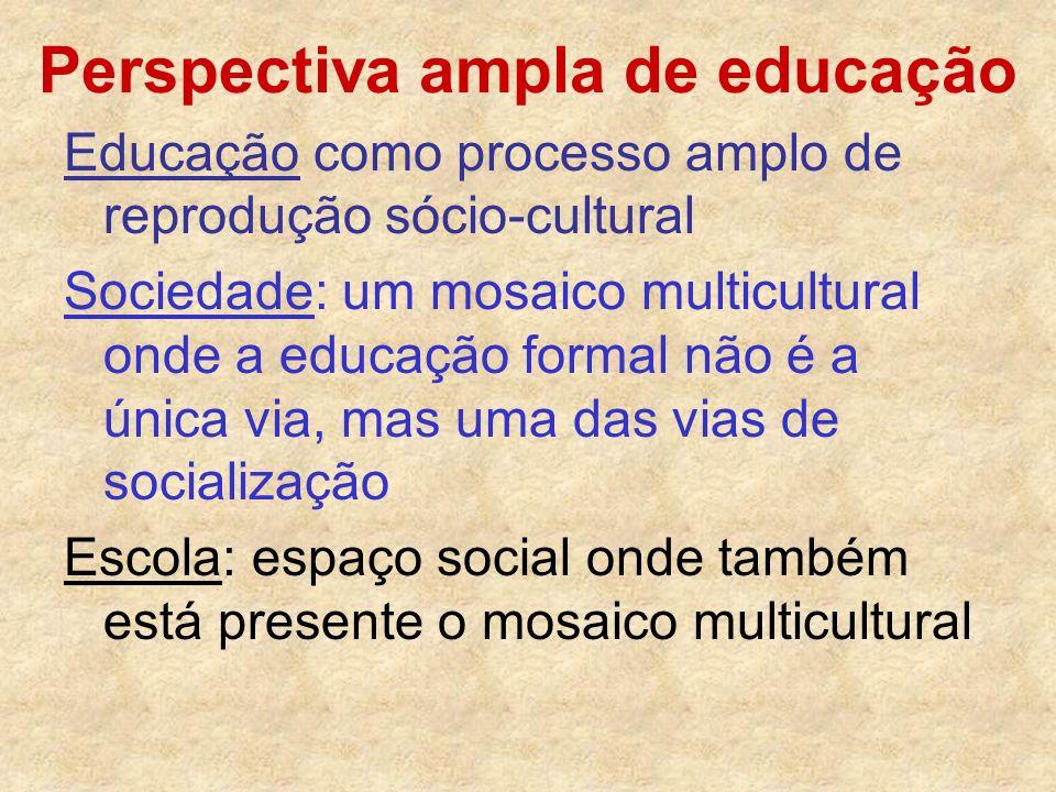 Perspectiva ampla de educação Educação como processo amplo de reprodução sócio-cultural Sociedade: um mosaico multicultural onde a educação formal não