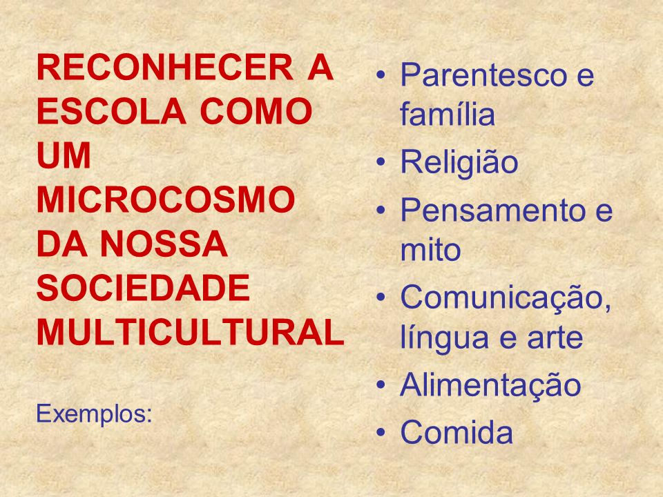RECONHECER A ESCOLA COMO UM MICROCOSMO DA NOSSA SOCIEDADE MULTICULTURAL Exemplos: Parentesco e família Religião Pensamento e mito Comunicação, língua
