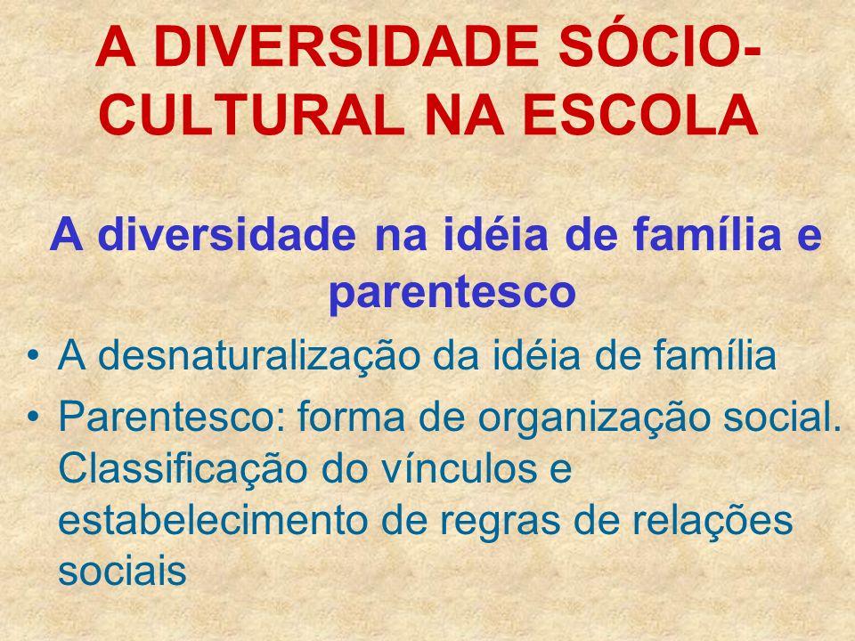 A DIVERSIDADE SÓCIO- CULTURAL NA ESCOLA A diversidade na idéia de família e parentesco A desnaturalização da idéia de família Parentesco: forma de org
