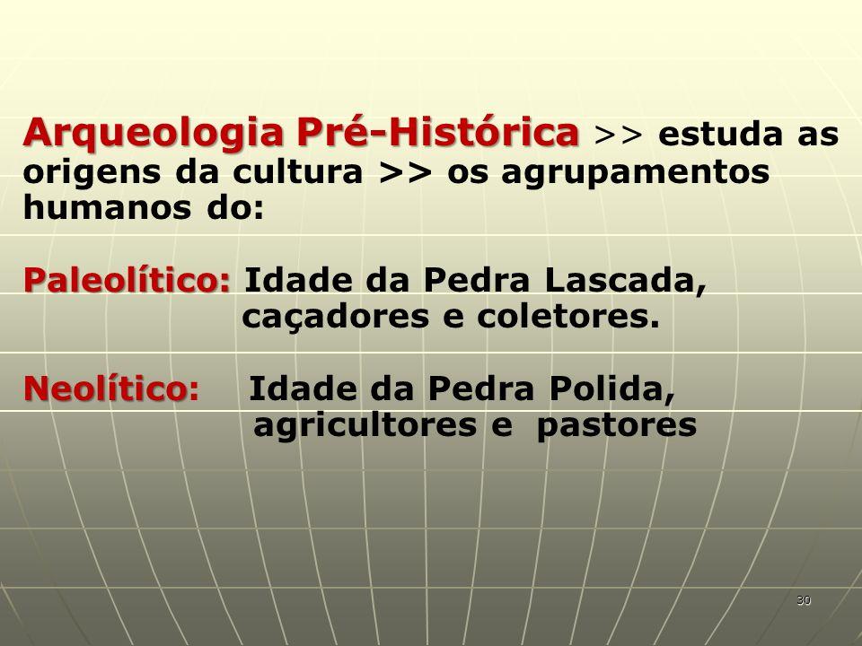 Arqueologia Pré-Histórica Arqueologia Pré-Histórica >> estuda as origens da cultura >> os agrupamentos humanos do: Paleolítico: Paleolítico: Idade da