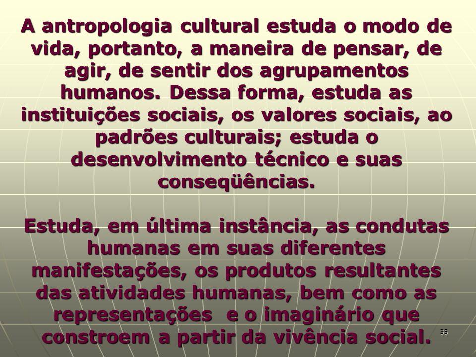 A antropologia cultural estuda o modo de vida, portanto, a maneira de pensar, de agir, de sentir dos agrupamentos humanos. Dessa forma, estuda as inst