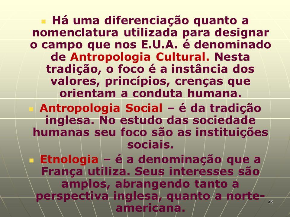 Há uma diferenciação quanto a nomenclatura utilizada para designar o campo que nos E.U.A. é denominado de Antropologia Cultural. Nesta tradição, o foc