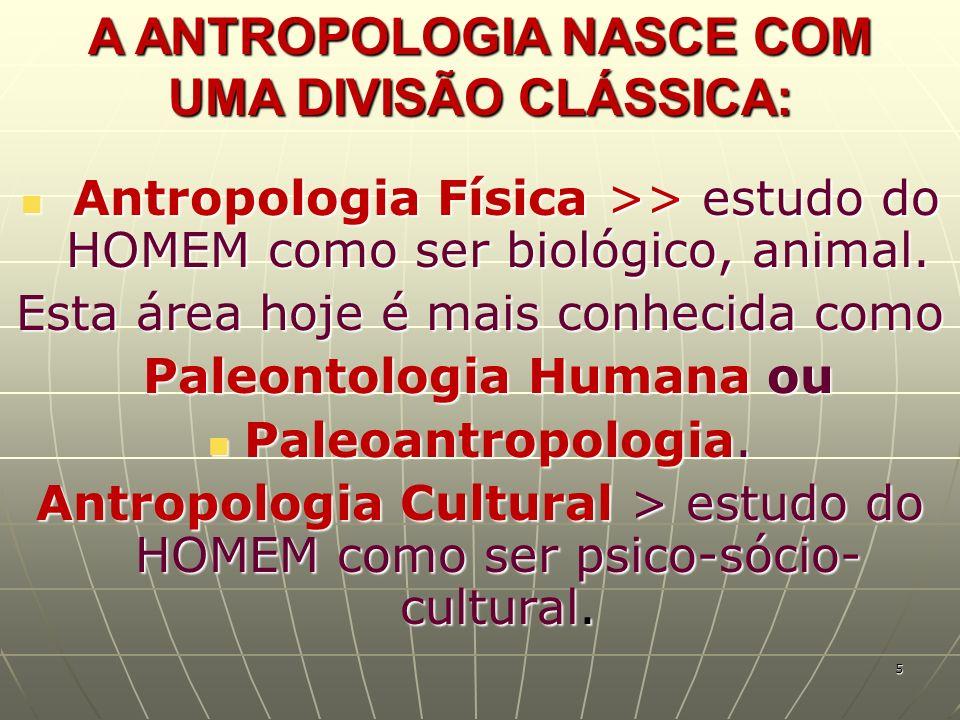 A ANTROPOLOGIA NASCE COM UMA DIVISÃO CLÁSSICA: Antropologia Física >> estudo do HOMEM como ser biológico, animal. Antropologia Física >> estudo do HOM