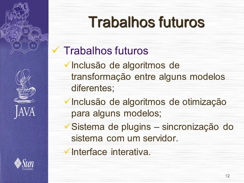 12 Trabalhos futuros Inclusão de algoritmos de transformação entre alguns modelos diferentes; Inclusão de algoritmos de otimização para alguns modelos; Sistema de plugins – sincronização do sistema com um servidor.