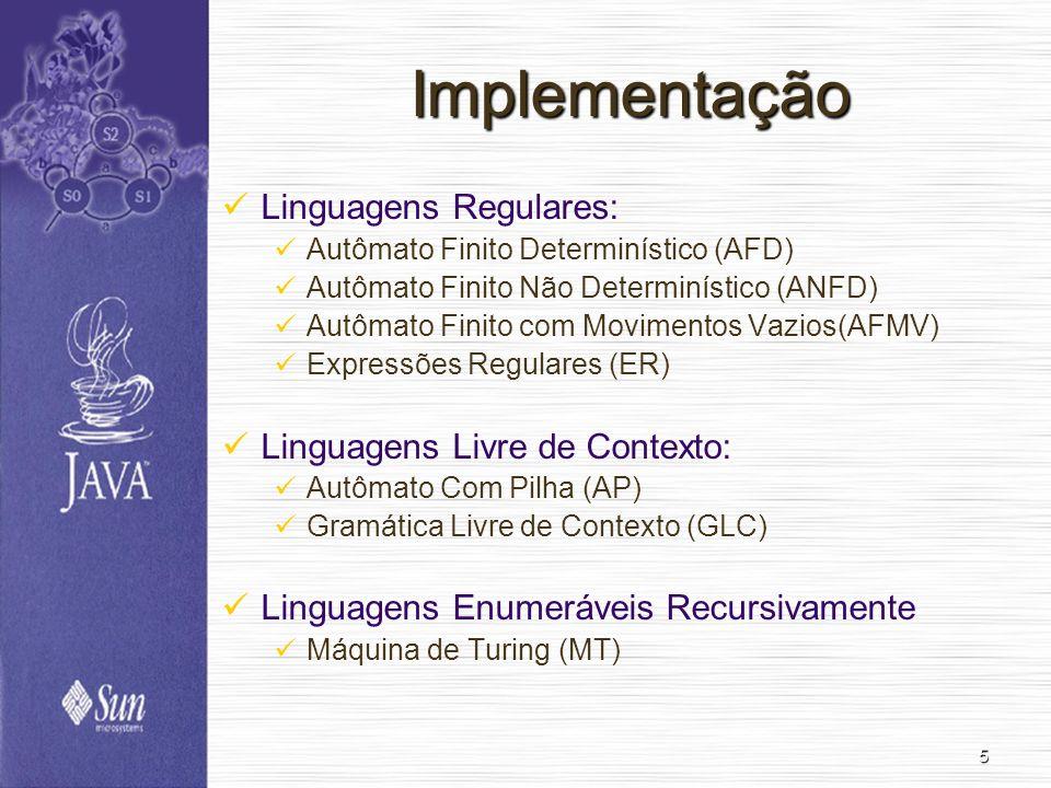 5 Implementação Linguagens Regulares: Autômato Finito Determinístico (AFD) Autômato Finito Não Determinístico (ANFD) Autômato Finito com Movimentos Vazios(AFMV) Expressões Regulares (ER) Linguagens Livre de Contexto: Autômato Com Pilha (AP) Gramática Livre de Contexto (GLC) Linguagens Enumeráveis Recursivamente Máquina de Turing (MT)
