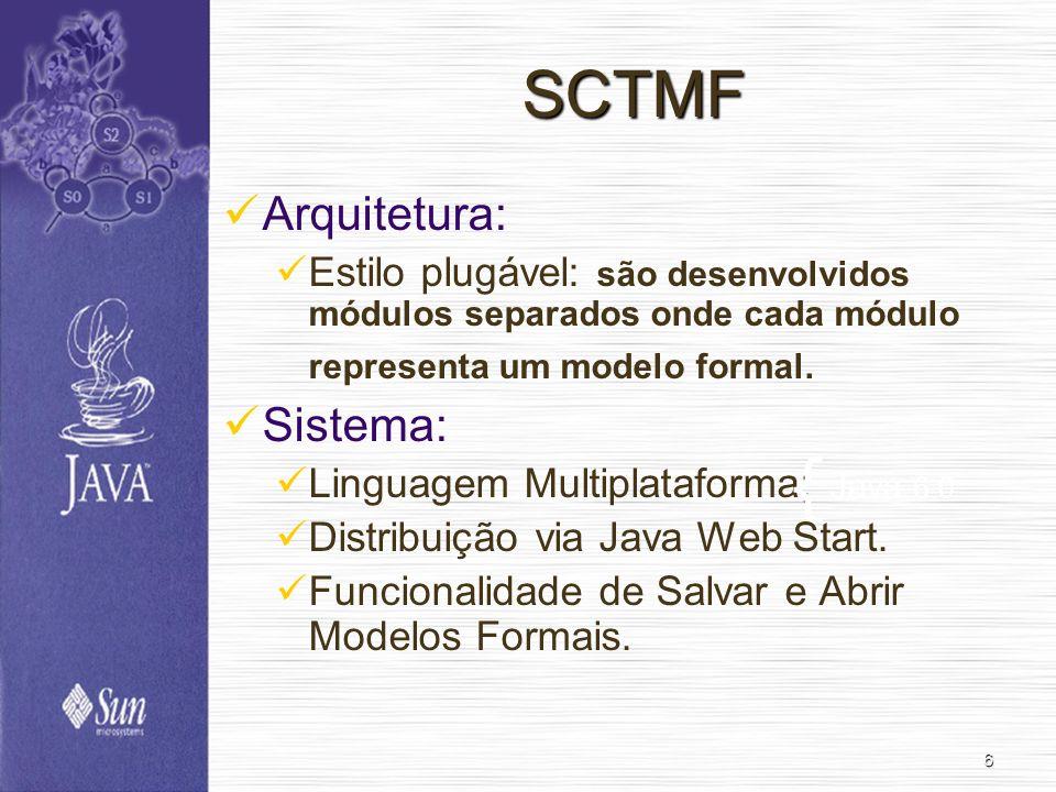 6 SCTMF Arquitetura: Estilo plugável: são desenvolvidos módulos separados onde cada módulo representa um modelo formal.