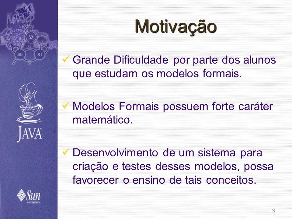 3 Motivação Grande Dificuldade por parte dos alunos que estudam os modelos formais. Modelos Formais possuem forte caráter matemático. Desenvolvimento