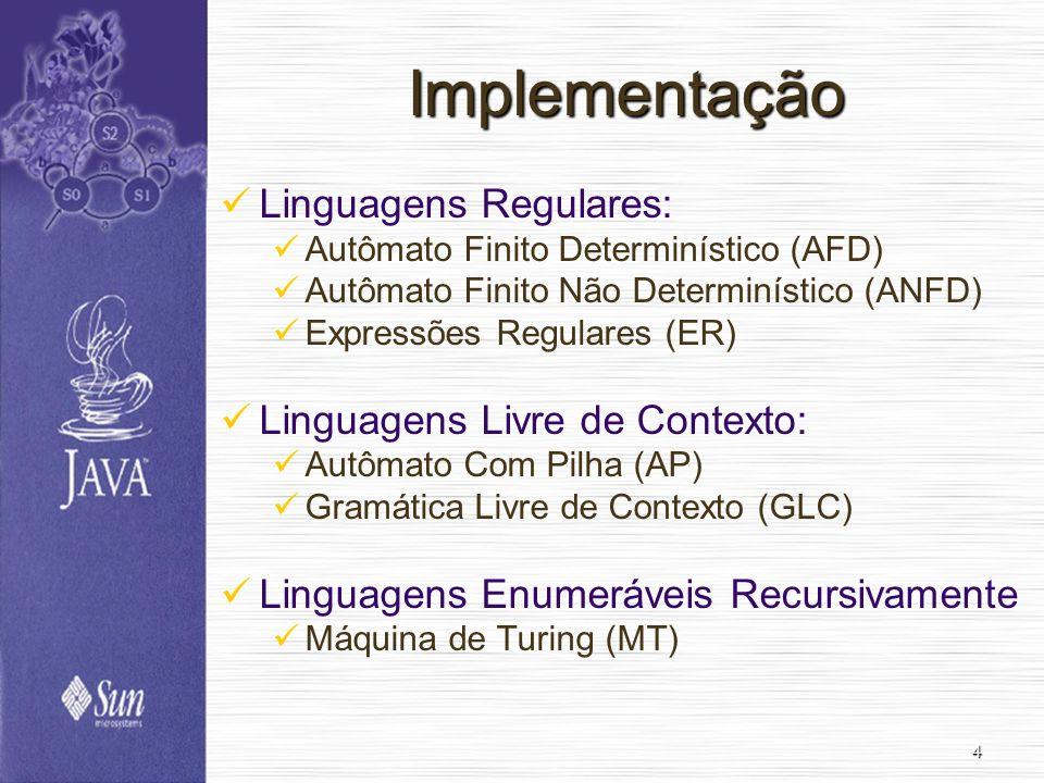 4 Implementação Linguagens Regulares: Autômato Finito Determinístico (AFD) Autômato Finito Não Determinístico (ANFD) Expressões Regulares (ER) Linguag