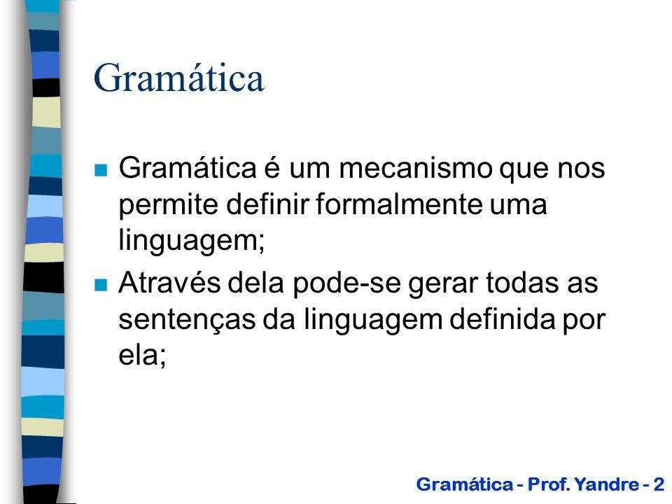 Gramáticas n Geração direta ( ): –Considere,,, (V T) * Uma cadeia gera diretamente ( ) uma cadeia sse: P Gramática - Prof.