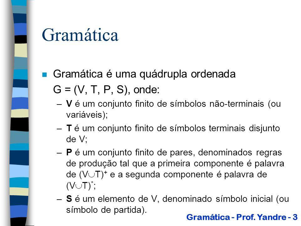Gramáticas n Geração ( * ): –Considere,,, (V T) * Uma cadeia gera ( *) uma cadeia sse: 1, 2,..., n tal que 1 2...