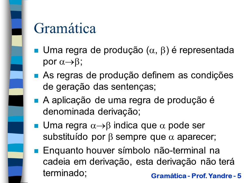 Gramática n O símbolo inicial é o símbolo através do qual deve iniciar o processo de derivação de uma sentença; n Observações: –V T = –Os elementos de T são os terminais.