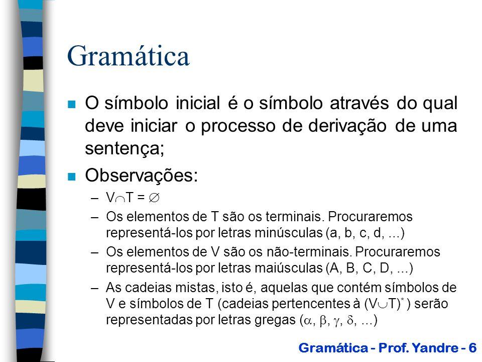 Gramática n Exemplo: –G 1 = ({S, A, B}, {a, b}, P, S) onde: P = { 1) S AB 2) A a 3) B b } –Quais as cadeias terminais geradas por esta gramática.