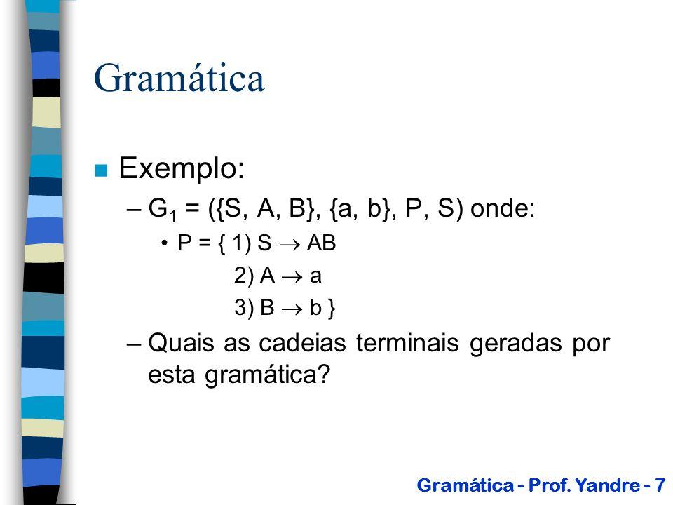 G 1 = ({A, B}, {a, b, c}, P, A) onde: P = { 1) A aB 2) B bB 3)B c } Gramáticas Gramática - Prof.