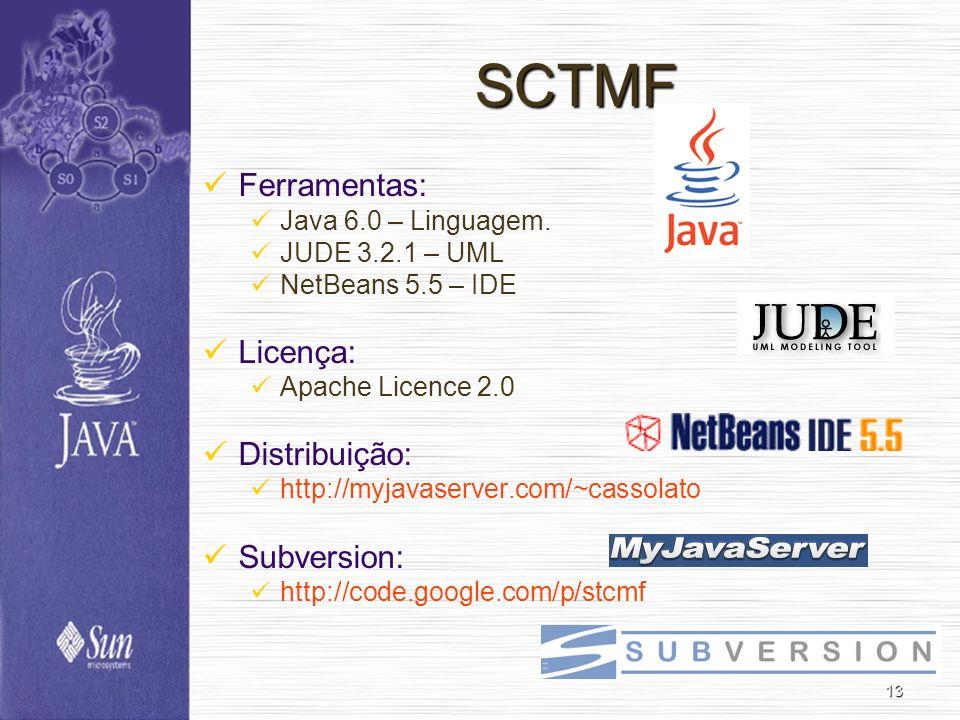 13 SCTMF Ferramentas: Java 6.0 – Linguagem. JUDE 3.2.1 – UML NetBeans 5.5 – IDE Licença: Apache Licence 2.0 Distribuição: http://myjavaserver.com/~cas