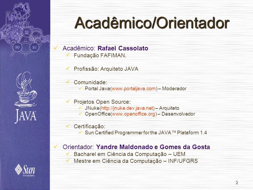 2 Acadêmico/Orientador Acadêmico: Rafael Cassolato Fundação FAFIMAN. Profissão: Arquiteto JAVA Comunidade: Portal Java(www.portaljava.com) – Moderador
