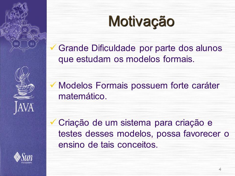 4 Motivação Grande Dificuldade por parte dos alunos que estudam os modelos formais. Modelos Formais possuem forte caráter matemático. Criação de um si