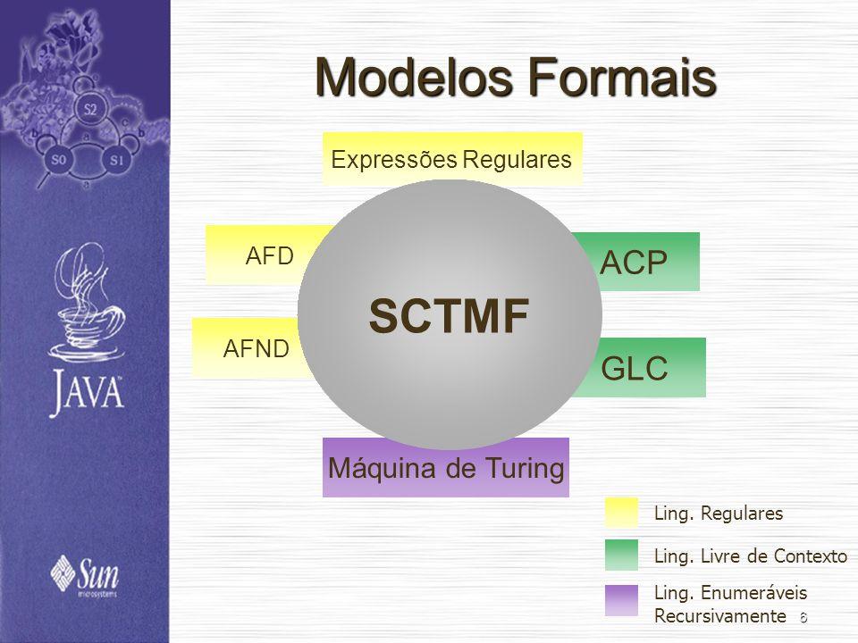 6 Modelos Formais AFD AFND Expressões Regulares ACP GLC Máquina de Turing SCTMF Ling. Regulares Ling. Livre de Contexto Ling. Enumeráveis Recursivamen