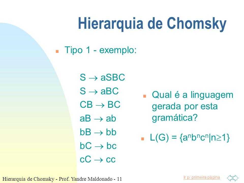 Ir p/ primeira página Hierarquia de Chomsky n Tipo 1 - exemplo: S aSBC S aBC CB BC aB ab bB bb bC bc cC cc n Qual é a linguagem gerada por esta gramát