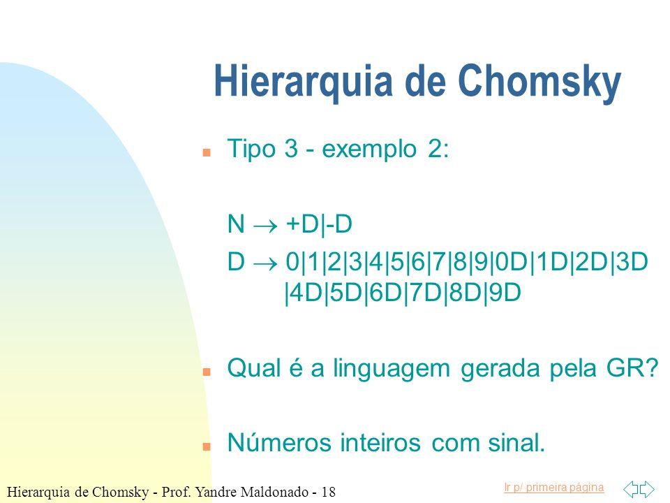 Ir p/ primeira página Hierarquia de Chomsky n Tipo 3 - exemplo 2: N +D|-D D 0|1|2|3|4|5|6|7|8|9|0D|1D|2D|3D |4D|5D|6D|7D|8D|9D n Qual é a linguagem ge