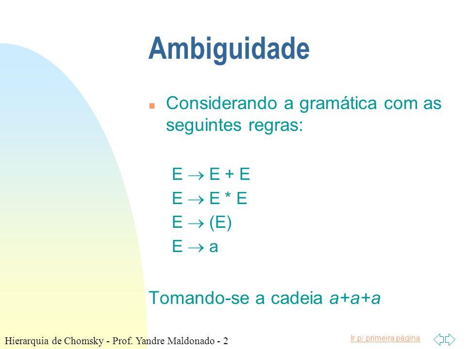 Ir p/ primeira página Hierarquia de Chomsky n Tipo 2 - exemplo: S aB S bA A a A aS A bAA B b B bS B aBB n Qual é a linguagem gerada por esta gramática.