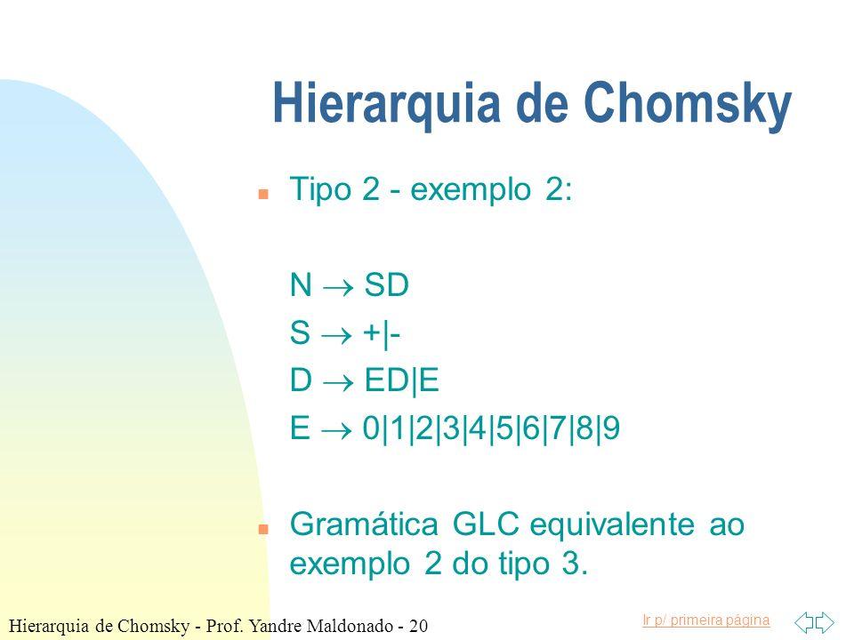 Ir p/ primeira página Hierarquia de Chomsky n Tipo 2 - exemplo 2: N SD S +|- D ED|E E 0|1|2|3|4|5|6|7|8|9 n Gramática GLC equivalente ao exemplo 2 do